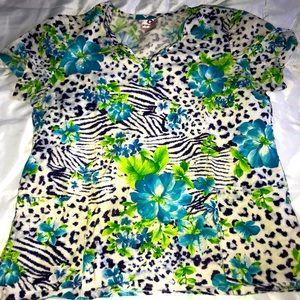 Ladies floral / animal print scrub top